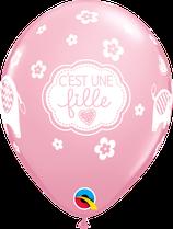 """6 Ballons Qualatex """"C'est Une Fille"""" Pink"""