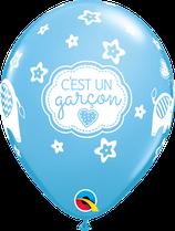 """6 Ballons Qualatex """"C'est Un Garçon"""" Pale Blue"""