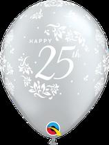 6 Ballons Qualatex 25ème Anniversaire de Mariage Argent