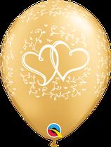 6 Ballons Qualatex Coeurs Entrelacés Or