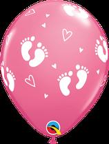 "6 Ballons Qualatex ""Petits Pieds de Bébé"" Rose"