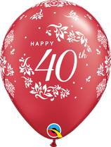 6 Ballons Qualatex 40ème Anniversaire de Mariage Rouge