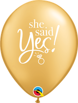 "6 Ballons Qualatex ""She Said Yes!"" Or"