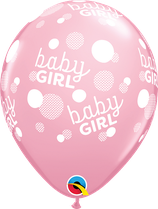 """6 Ballons Qualatex """"Baby Girl Dots-A-Round"""" Pink"""