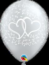 6 Ballons Qualatex Coeurs Entrelacés Argent