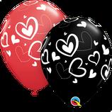 6 Ballons Qualatex Mix & Match Hearts