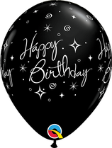 6 Ballons Qualatex Sparkle Happy Birthday Noirs
