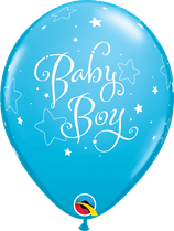 "6 Ballons Qualatex ""Baby Boy Stars"" Robin Egg Blue"