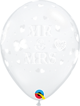 "6 Ballons Qualatex ""Mr & Mrs"" Transparent"