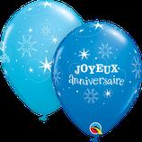 """6 Ballons Qualatex """"Joyeux Anniversaire Sparkle"""" Bleus"""