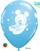 "6 Ballons Qualatex ""Bébé Mickey"" Pale Blue"