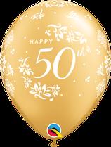 6 Ballons Qualatex 50ème Anniversaire de Mariage Or