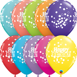 6 Ballons Qualatex Happy Birthday Multi Confettis