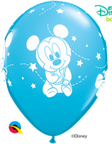 "6 Ballons Qualatex ""Bébé Mickey"" Robin Egg Blue"