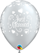 6 Ballons Qualatex Just Married Argent