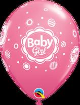 "6 Ballons Qualatex ""Baby Girl Dots"" Rose"