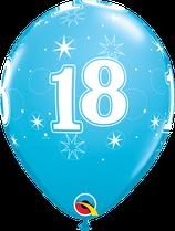 6 Ballons Qualatex Sparkle Chiffre Bleu (18, 30, 40, 50 ou 60 ans)
