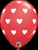 6 Ballons Qualatex Rouge Coeurs Blancs