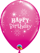 6 Ballons Qualatex Happy Birthday Sparkle Wild Berry