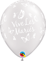 """6 Ballons Qualatex """"Vive Les Mariés - Papillons"""" Blanc nacré"""