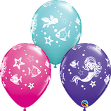 "6 Ballons Qualatex ""Merry Mermaid and Friends"""