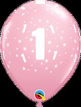 "6 Ballons Qualatex Chiffre ""1er Anniversaire"""