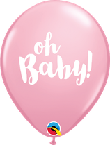 """6 Ballons Qualatex """"Oh Baby!"""" Pink"""