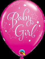 """6 Ballons Qualatex """"Baby Girl Stars"""" Wild Berry"""