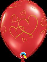 6 Ballons Qualatex Rouges Romantic Hearts