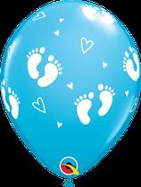 """6 Ballons Qualatex """"Petits Pieds de Bébé"""" Robin Egg Blue"""