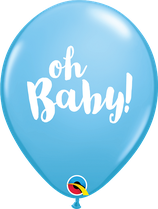 "6 Ballons Qualatex ""Oh Baby!"" Pale Blue"