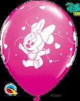 "6 Ballons Qualatex ""Bébé Minnie"" Wild Berry"