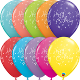 6 Ballons Qualatex Sparkle Happy Birthday Multi