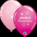 """6 Ballons Qualatex """"Joyeux Anniversaire Sparkle"""" Rose"""