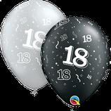 6 Ballons Qualatex Shining (Chiffre 18, 20, 30, 40, 50 ou 60 ans)