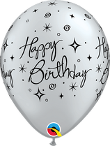 6 Ballons Qualatex Sparkle Happy Birthday Argent