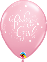 "6 Ballons Qualatex ""Baby Girl Stars"" Pink"