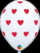 6 Ballons Qualatex Blanc Coeurs Rouges