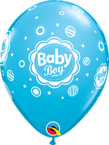 "6 Ballons Qualatex ""Baby Boy Dots"" Robin Egg Blue"