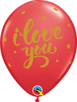 6 Ballons Qualatex I Love You Bold Script