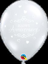 6 Ballons Qualatex Anniversaire de Mariage Transparents