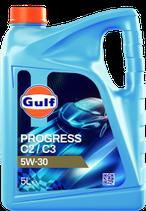 Lubricante sintético Low SAPS ACEA C2/C3 gulf progress 5w30 (1 caja de 3 garrafas de 5 litros)