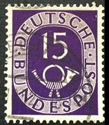 Bund 0129 I  - 15 Pf Posthorn gest.  - Plattenfehler I