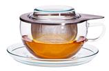 Teetasse aus feinstem Glas mit Edelstahlfilter