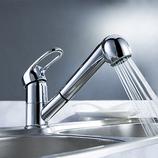 Küchenarmatur Spültisch Einhebelmischer Wasserhahn ausziehbar Messing Chrom Orb