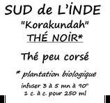 SUD DE L'INDE BIO 100G