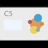Couvert DIN C5, gedruckt 4/0 = einseitig farbig HAFTKLEBESTREIFEN, MIT FENSTER LINKS
