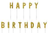 Kerzen Happy Birthday gold