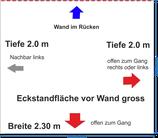"""Eck-Standfläche 2.3 x 2.0 m gross vor Saalwand (im Plan """"orange"""") 5.7."""