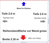 "Reihen-Standfläche 2.3 x 2.0 m gross vor Saalwand oder Fenster (im Plan ""lila"")"